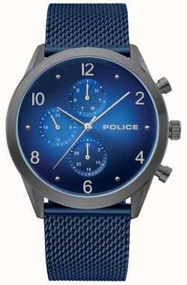 Police | caso de arma de mens multi mostrador azul | pulseira de malha azul | 15922JSU/03MMBL