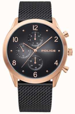 Police | caso de ouro rosa dos homens | alça de malha preta | multi-dial preto 15922JSR/02MMB