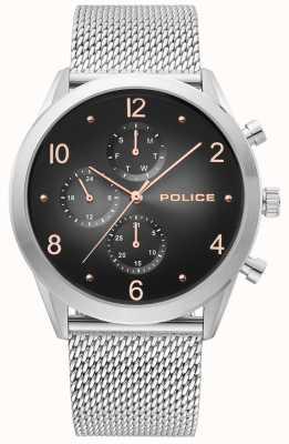 Police | alça de malha de prata mens | multi-dial preto | 15922JS/02MM