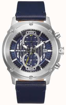 Police | mens lulworth | pulseira de couro azul | multi-dial azul | 15917JS/03
