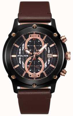 Police | mens lulworth | pulseira de couro marrom | multi-dial preto | 15917JSB/02A