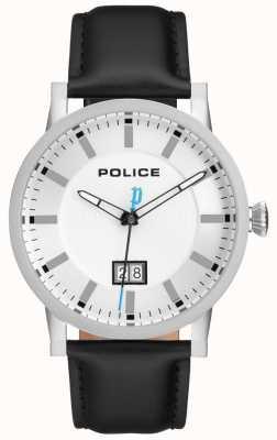 Police | mens collin watch | pulseira de couro preto | mostrador prateado | 15404JS/01
