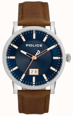 Police | mens collin watch | pulseira de couro marrom | mostrador azul | 15404JS/03