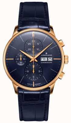 Junghans Cronoscópio Meister | pulseira de couro azul | 027/7924.01