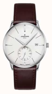 Junghans Meister mega pequeno segundo | pulseira de couro marrom escuro | 058/4902.00