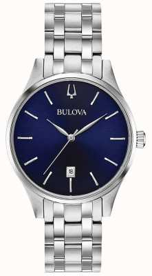 Bulova Data de discagem azul inoxidável das mulheres 96M149