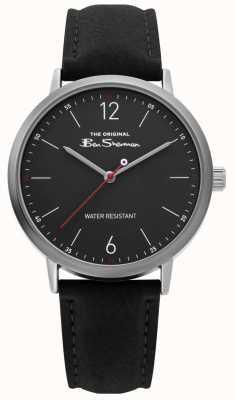 Ben Sherman | gents pulseira de couro preto | mostrador preto | BS019B
