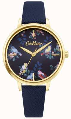 Cath Kidston | pulseira de couro azul | mostrador floral azul | CKL069UG