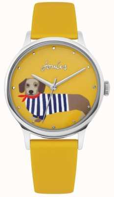Joules | pulseira de borracha amarelo senhoras | mostrador de impressão de cachorro salsicha | JSL010Y