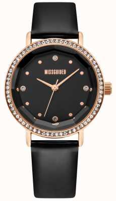 Missguided | pulseira de couro preto das mulheres | mostrador preto | moldura de cristal | MG021BRG