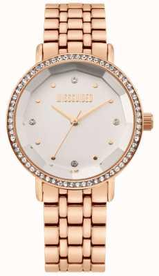 Missguided | pulseira de aço inoxidável em ouro rosa para mulher | mostrador branco | MG021RGM