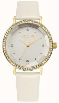 Missguided | pulseira de couro branco das mulheres | mostrador branco | moldura de cristal | MG021WG