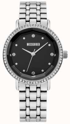 Missguided | aço inoxidável feminino | mostrador preto | moldura de cristal | MG021SM