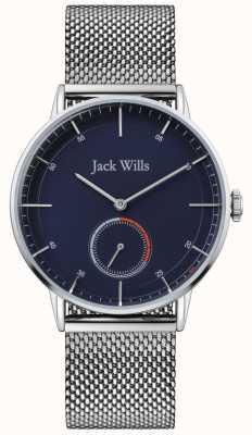 Jack Wills | mens batson ii | pulseira de malha de aço | mostrador azul | JW002BLMH