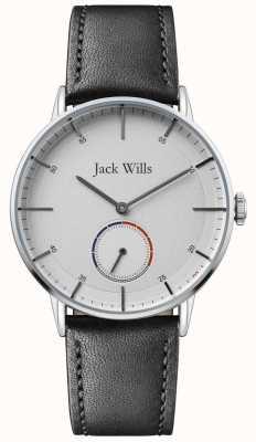 Jack Wills | mens batson ii | pulseira de couro preto | mostrador branco | JW002SLBK