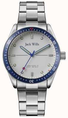 Jack Wills | baía do moinho dos homens | pulseira de aço inoxidável | mostrador prateado | JW015SLSL
