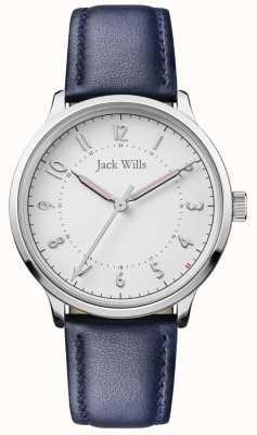 Jack Wills | conhecimento das mulheres | pulseira de couro azul | mostrador branco | JW017WHNV