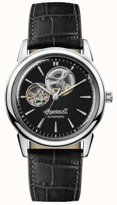 Ingersoll | mens o novo paraíso | pulseira de couro preto | mostrador preto | I07302