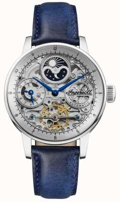 Ingersoll | mens o jazz | pulseira de couro azul | mostrador de esqueleto | I07702