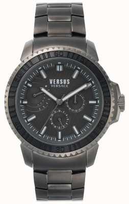 Versus Versace | mens aberdeen | mostrador preto | pulseira de aço inoxidável cinza VSPLO0819
