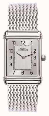 Michel Herbelin Mens esprit art deco aço inoxidável malha de prata dial 17468/22BM