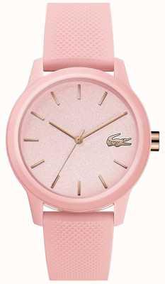 Lacoste | mulheres 12-12 | pulseira de silicone rosa | mostrador rosa | 2001065