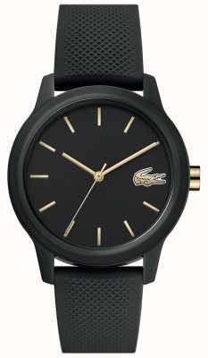 Lacoste 12.12 mulheres | pulseira de silicone preta | mostrador preto | 2001064