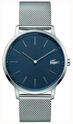 Lacoste | lua dos homens | pulseira de malha de aço | mostrador azul | 2011005