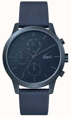 Lacoste | mens 12-12 | pulseira de couro azul | mostrador azul | 2010998