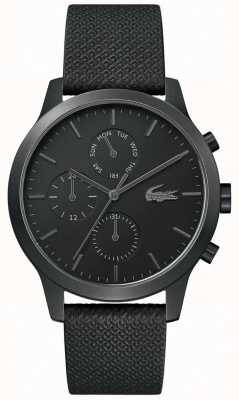 Lacoste | 12-12 homens | pulseira de couro preto | mostrador preto | 2010997
