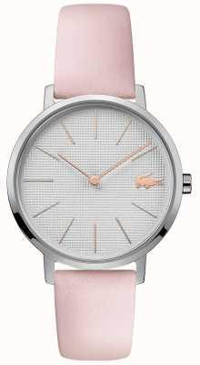 Lacoste | lua das mulheres | pulseira de couro rosa | mostrador prateado | 2001070