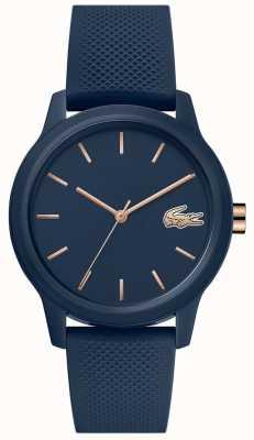 Lacoste 12.12 mulheres | pulseira de silicone azul marinho | mostrador da marinha | 2001067