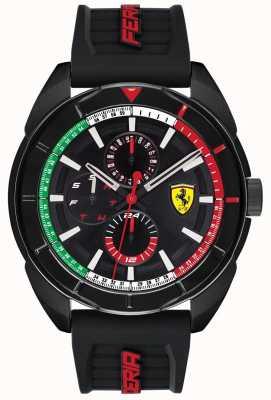 Scuderia Ferrari | mens forza | pulseira de borracha preta | mostrador preto cronógrafo | 0830577