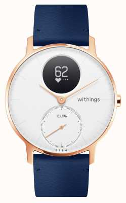Withings Aço hr 36mm rosa ouro azul couro (+ pulseira de silicone cinza) HWA03B-36WHITE-RG-L.BLUE-ALL-INTER
