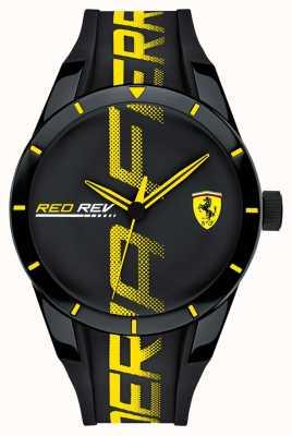 Scuderia Ferrari | mens redrev | pulseira de borracha preta | mostrador preto | 0830615