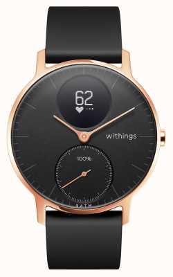 Withings Hr de aço 36mm rosa ouro preto discagem preta pulseira de silicone HWA03B-36BLACK-RG-S.BLACK-ALL-INTER