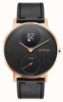 Withings Aço hr 36mm rosa de ouro de couro preto (+ banda de silicone preto) HWA03B-36BLACK-RG-L.BLACK-ALL-INTER