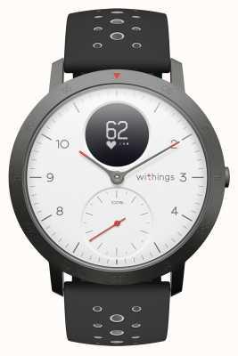 Withings Bracelete de silicone preta com mostrador branco de 40 mm em aço hr sport HWA03B-40WHITE-SPORT-ALL-INTER