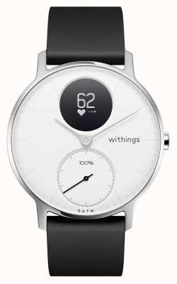 Withings Bracelete de silicone preta com mostrador branco hr 36 mm de aço HWA03-36WHITE-ALL-INTER