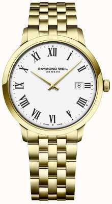 Raymond Weil | toccata para homem | pulseira de aço inoxidável ouro | mostrador branco 5485-P-00300