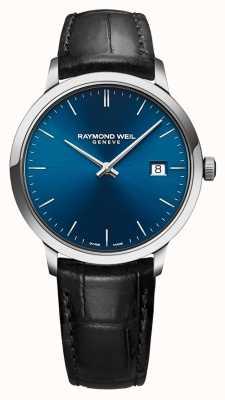 Raymond Weil Mens toccata azul mostrador pulseira de couro preto 5485-STC-50001