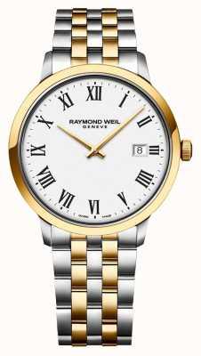 Raymond Weil Mens toccata mostrador branco pulseira de aço inoxidável de dois tons 5485-STP-00300