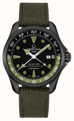Certina Mostrador preto com pulseira verde powermatic 80 masculino ds action gmt C0324293805100