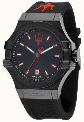 Maserati Potenza pulseira de borracha preto mostrador preto R8851108020