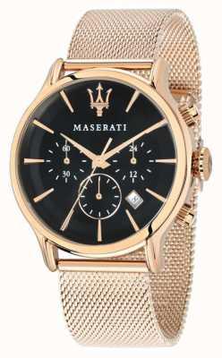 Maserati Epoca cronógrafo mostrador preto rosa ouro pvd malha R8873618005