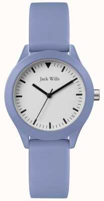 Jack Wills | pulseira de borracha azul das senhoras | mostrador branco | JW008LTBL