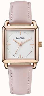Jack Wills | senhoras loring leatherstrap rosa | mostrador branco | JW016WHPK