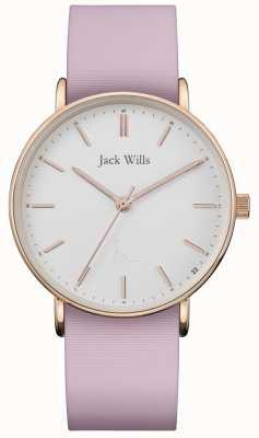 Jack Wills | senhoras sandhill rosa pulseira de silicone | mostrador branco | JW018WHPK