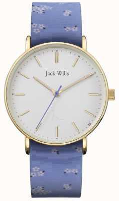 Jack Wills | pulseira de silicone azul sandhill | mostrador branco | JW018FLBL