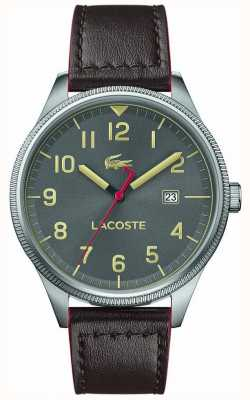 Lacoste | mens continental | pulseira de couro marrom | mostrador cinza | 2011020